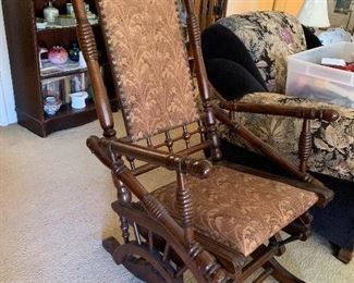 Victorian rocking chair with original fabric in perfect condition
