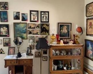 Globe bookshelf (stackable) , sillouettes, prints, carved wood entryway piece, floor lamp, oil lamps