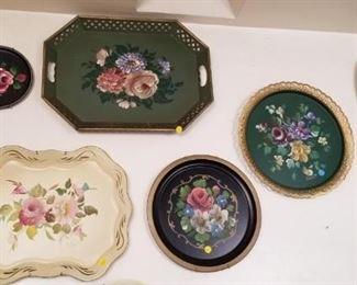 floral tin trays