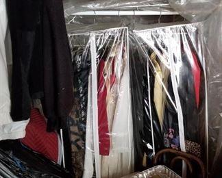 vintage clothing, fur jackets, purses,