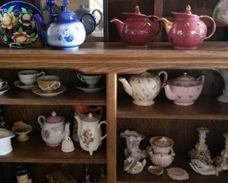 antique glassware, tea kettles, plates