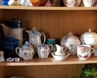 antique glassware, china, cookie jars, tea cups, pitchers, table lamps