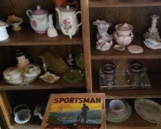 antique glassware, serving plates, dish sets, candle holders