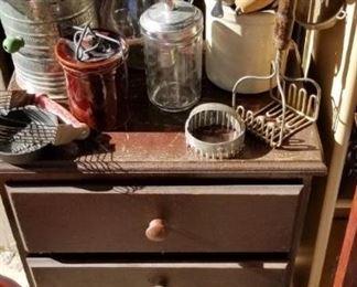 night stand, vintage kitchen utensils