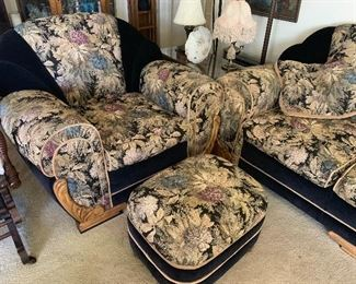 vintage sofa set with footstool in perfect condition with art deco fabric