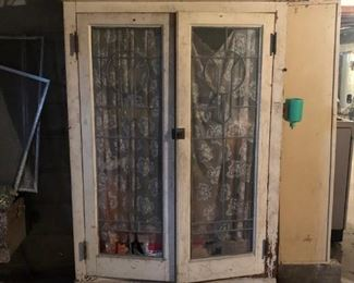 antique leaded glass cabinet