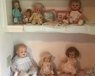 VINTAGE AND ANTIQUE DOLLS. CHATTY CATHY, SOLD COMPOSITION DOLL OVER 90 YEARS OLD IN PERFECT SHAPE AND MORE