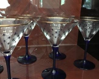 russian martini glasses with gold trim