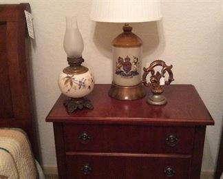 cherry side table with twin beds