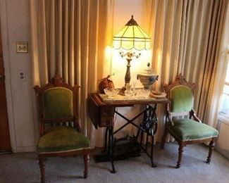 Antique Victorian padded accent chairs-antique sew machine table-Stained Glass Lamp