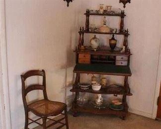 Antique cane seat chair-antique corner drop leaf desk
