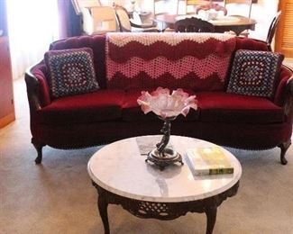 Red Velvet Victorian Conversation Couch-Round Marble top coffee table