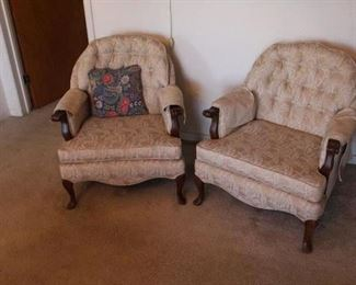Set two queen Ann barrel chairs