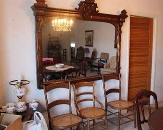 Antique cane back chairs -Large Gold Victorian Ornate Mirror-From Virginia City Bar