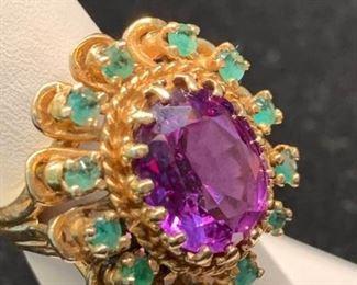 003 18k, Emerald  Purple Sapphire Princess Ring