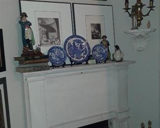 Napoleon figurines, antique books, blue willow plates, sconces, framed art
