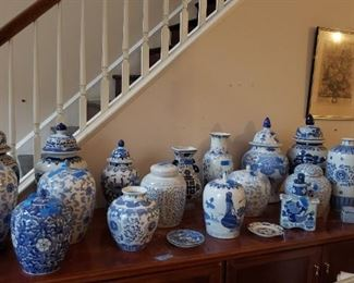 More blue and white vases, jars, and cache pots.