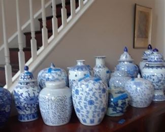 More blue and white jars and vases