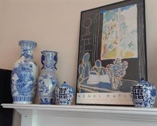 Monumental blue and white vases, ginger jars, Matisse poster