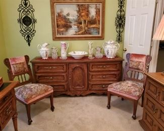 9-DRAWER DREXEL SOLID WOOD DRESSER or SERVER....2 VICTORIAN PARLOR CHAIRS (PART of a SET)....VICTORIAN WASHSTAND PIECES...RS PRUSSIA PITCHER...OIL on CANVAS LANDSCAPE PAINTING