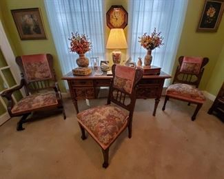 VICTORIAN PLATFORM ROCKER...2 MATCHING VICTORIAN PARLOR CHAIRS...DREXEL FRENCH STYLE WRITING DESK with BLACK LEATHER TOP...ORIENTAL LAMP, VASES, SWAN FIGURINES, CARVED WOOD BOXES