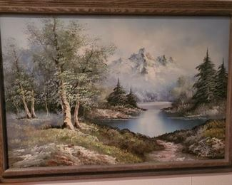 OIL ON CANVAS SIGNED MOUNTAIN LAKE LANDSCAPE