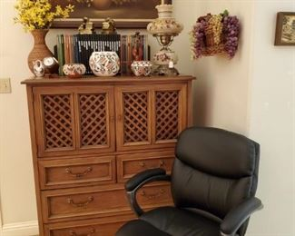 DREXEL CHEST of DRAWERS...OFFICE CHAIR...NATIVE AMERICAN POTTERY...OIL on CANVAS PTG.
