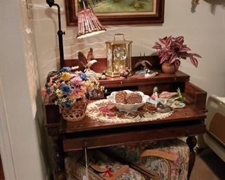 ANTIQUE SPINNET DESK....PROTOCOL TAPESTRY LUGGAGE