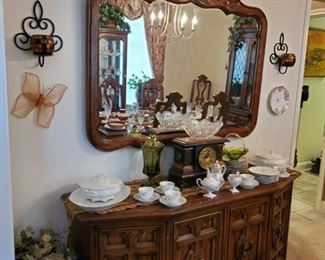 DREXEL CREDENZA & MIRROR....ANTIQUE CLOCK...CHINA