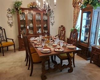 DREXEL DINING TABLE, CHAIRS, CHINA CABINET....LIGHTED CURIO CABINET with MIRROR BACK...CHINA & CRYSTAL