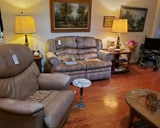 RECLINER...LOVESEAT HIDE-A-BED...END TABLES & BRASS LAMPS...ORIGINAL OIL on CANVAS PTGS.