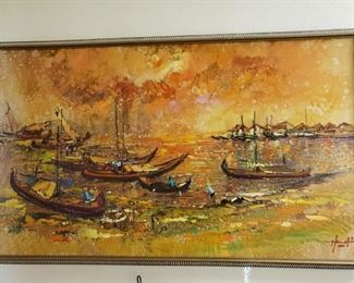 """MCM PAINTING that is artist signed """"SHIPS IN HARBOR"""""""