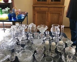 Crystal jars , plates, candle holders, dishes, pitchers and more