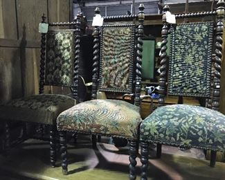 French barley twist needlepoint chairs