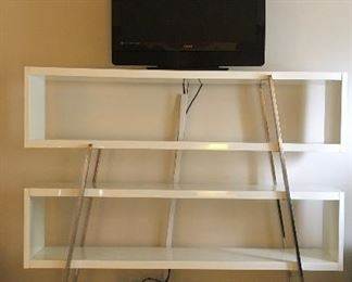 White enamel shelving unit