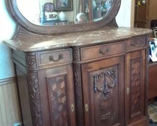 Gorgeous carved front, marble top, French buffet