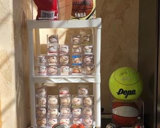 Signed baseballs by: Bob Feller, Yogi Berra, Hank Aaron, Kirby Pucket, Johnny Bench, Rocky Colavito, Lou Boudreau, Warren Spahn.  Large tennis ball signed by Pete Sampras.  Mini helmets signed by Don Shula and more.