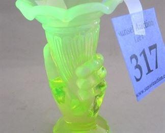 """VASELINE GLASS MINI """"HAND"""" VASE. 3.5"""" TALL"""