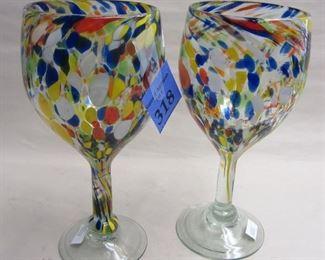 """PAIR OF MOTTLED GLASS GOBLETS 8"""" TALL"""