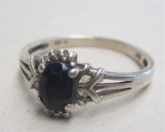 STERLING RING WITH BLUE STONE, SIZE 10 3/4