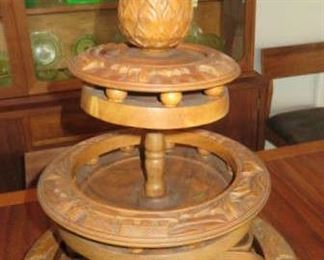 Vintage Monkey Pod Wood Lazy Susan 3 Tier Service Polynesian Luau Carousel with Pineapple