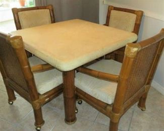 Vintage Bamboo Rattan Kitchen Table Set 4/Chairs