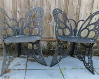 Pair Cast Iron Patio Butterfly Chairs