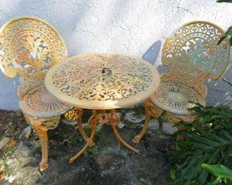 Cast Iron Patio Table Chair Set