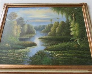 Framed River Landscape Oil on Canvas Painting Signed K. Hillman