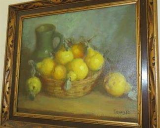 Ruggero Serrato (19-20th century) Fruit Still Life Oil Painting on Canvas, Signed Serrato