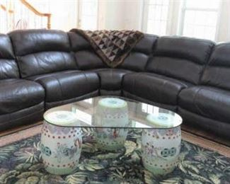 Brown Leather Wrap Around Sofa with Dual Electric Recliners