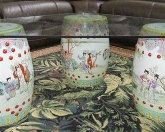 Set of 4 Chinese Famille Rose Garden Seat Stools