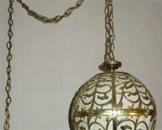 Mid-Century Solid Brass Hanging Swag Globe Lamp with Chain