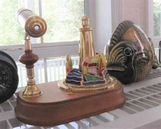 Vintage San Francisco Music Box Stained Glass Lighthouse with Kaleidoscope